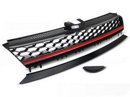 Решётка VW Golf VII (12-17) - GTI стиль (красная полоса)