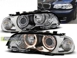 Фары передние BMW E46 (99-01) C/C ANGEL EYES CHROME