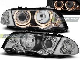 Фары передние H7 BMW E46 (98-01) S/T ANGEL EYES CHROME