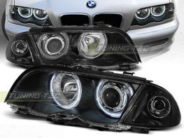 Фары передние CCFL BMW E46 (98-01) S/T ANGEL EYES BLACK