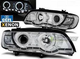 Фары хром BMW X5 E53 (00-03) - CCFL ангельские глазки