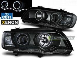Фары чёрные BMW X5 E53 (00-03) - CCFL ангельские глазки