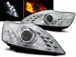 Фары FORD Focus II (08-10) DAYLIGHT CHROME LED