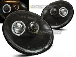 Фары VW NEW Beetle A4 (97-05) чёрные ангельские глазки