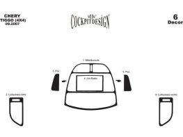 Накладки торпедо (малый комплект) CHERY Tiggo (2006-2013)