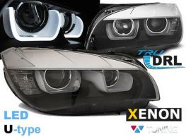Фары чёрные BMW X1 E84 (12-15) - DRL LED U-Type ксенон