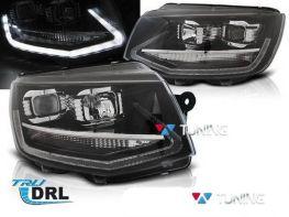 Фары VW T6 (2015-) - чёрные диодные DRL