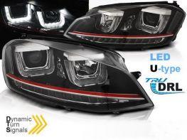Фары VW Golf 7 (12-17) - U-тип DRL чёрные LED-повороты (GTI стиль)