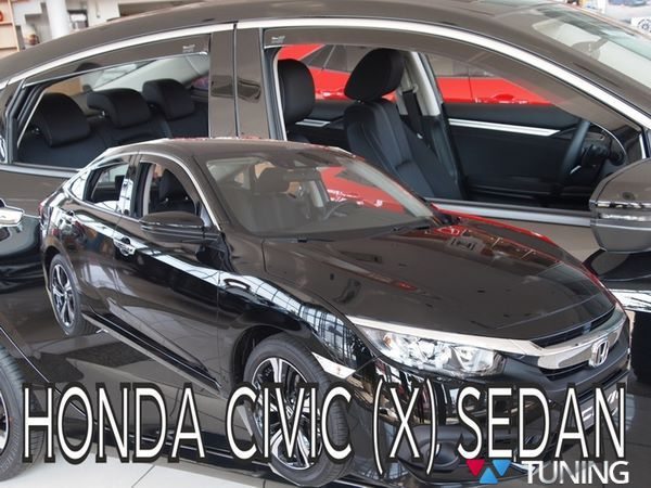 Ветровики HONDA Civic 10 X Sedan - HEKO (вставные) 1