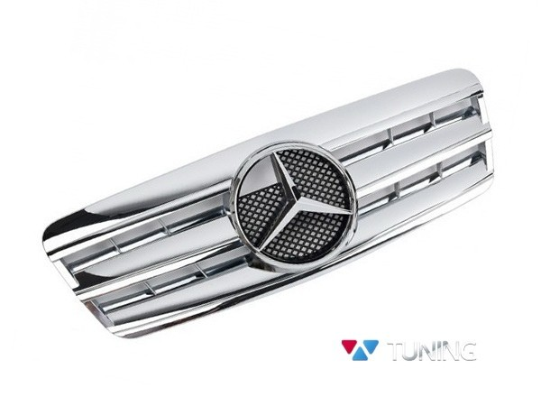 Решётка радиатора MERCEDES CLK W208 - хромированная CL стиль 1