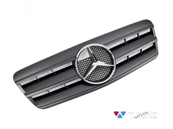 Решётка радиатора MERCEDES CLK W208 - чёрная матовая CL - хром логотип 1