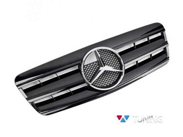 Решётка MERCEDES CLK W208 - чёрная глянцевая CL стиль - хром логотип 2