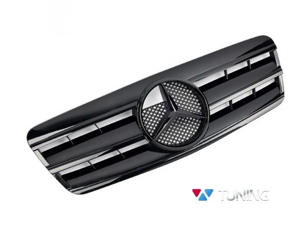 Решётка MERCEDES CLK W208 - чёрная глянцевая CL стиль - чёрный логотип