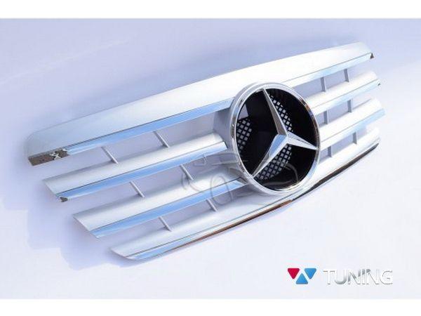 Решётка MERCEDES E W210 (1999-2002) рестайл - серебряная CL 2