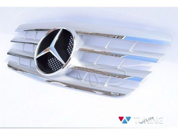 Решётка MERCEDES E W210 (1999-2002) рестайл - серебряная CL 3