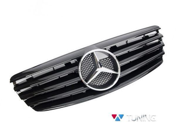 Решётка MERCEDES E W211 (02-06) - чёрная глянцевая CL с логотипом хром 1