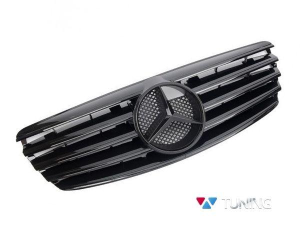 Решётка MERCEDES E W211 (02-06) - чёрная глянцевая CL с логотипом чёрным