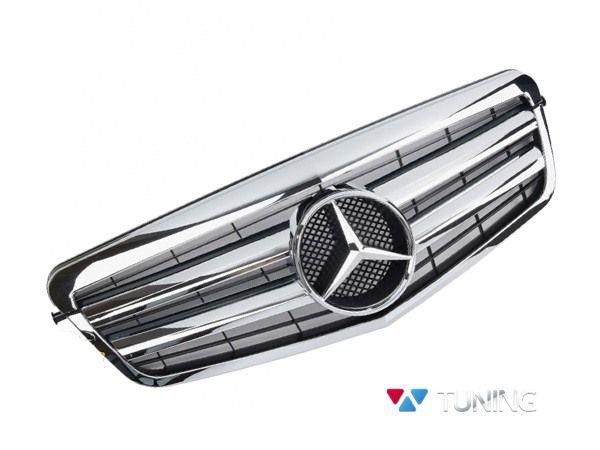 Решётка MERCEDES E W212 (2009-2013) - CL стиль хромированная 1