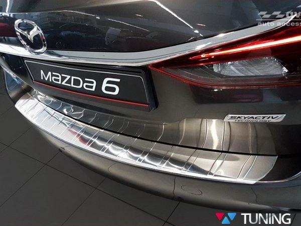 Белая накладка на задний бампер MAZDA 6 III (2013-) Combi - AVISA 1