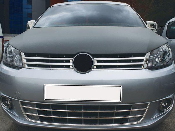 Хром накладки решётки бампера VW Caddy (Trend) (10-14)