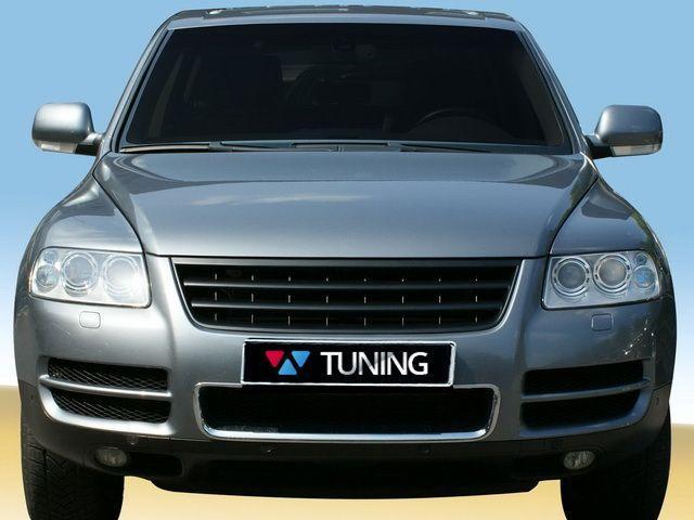 Решётка радиатора VW Touareg I (2002-2006) - чёрная 2