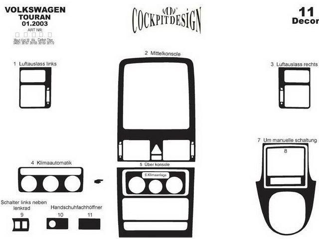 Накладки на торпедо VW Touran I (2003-2010) схема