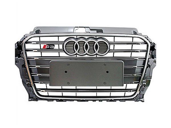 Решётка радиатора AUDI A3 8V (2012+) - S3 стиль (серая с хром рамкой) 1
