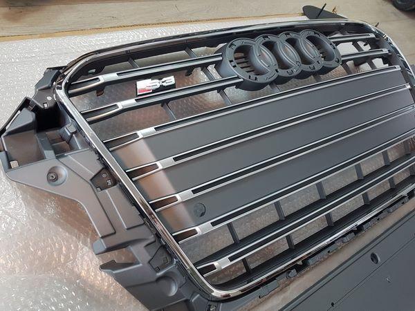 Решётка радиатора AUDI A3 8V (2012+) - S3 стиль (серая с хром рамкой) 4