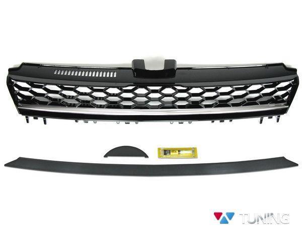 Решётка радиатора VW Golf 7 (2013-) чёрная с хром полосой