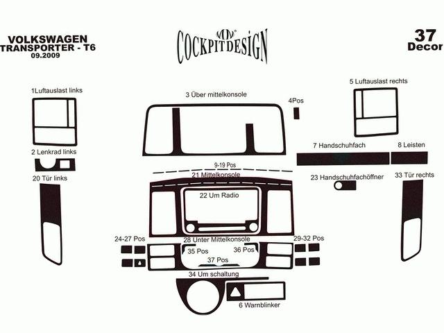 Накладки на торпедо VW T5+ (10-15) рестайлинг 37 шт