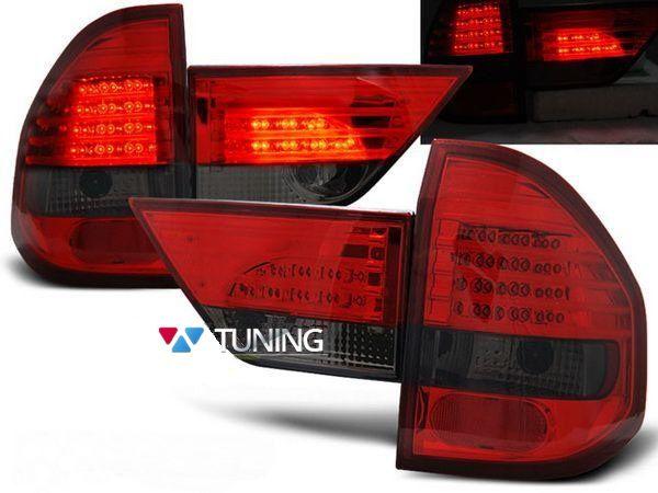 Фонари задние BMW X3 E83 (03-06) - красно-дымчатые LED