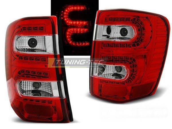 Фонари задние JEEP Grand Cherokee WJ (99-04) КРАСНО-БЕЛЫЕ LED