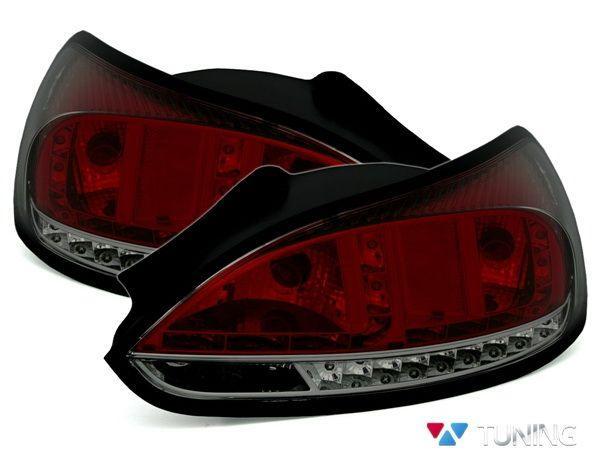 Фонари задние VW Scirocco III (08-14) красно-дымчатые LED