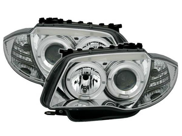 Фары BMW 1 E87 / E81 (04-07) ANGEL EYES CHROME
