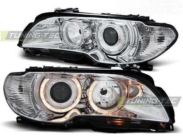 Фары передние BMW E46 (03-06) C/C ANGEL EYES CHROME