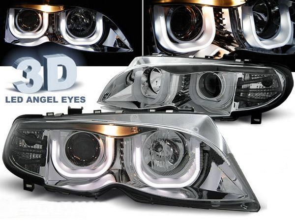 Фары передние BMW E46 (01-05) S/T ANGEL EYES 3D CHROME