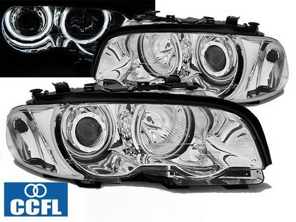 Фары передние BMW E46 (99-01) C/C ANGEL EYES CCFL CHROME