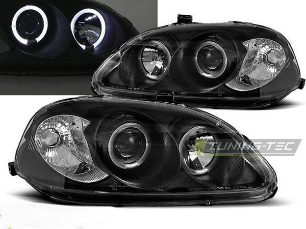 Фары HONDA Civic 6 (99-01) ANGEL EYES BLACK