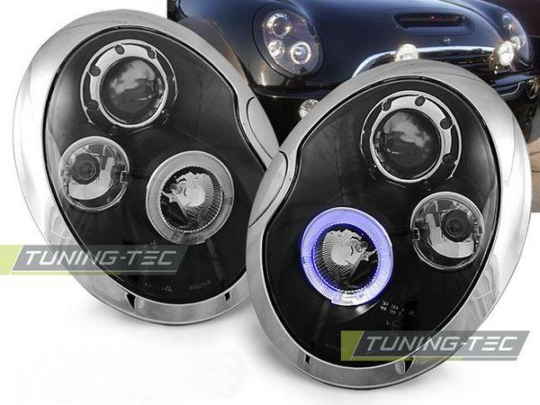 Фары передние MINI Cooper R50, R52, R53 ANGEL EYES BLACK