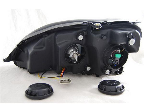 Фары передние MERCEDES S W220 - линзовые (Hi-Low) чёрные - вид сзади