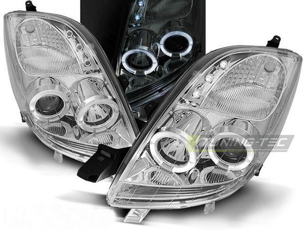 Фары передние TOYOTA Yaris II (05-09) ANGEL EYES CHROME