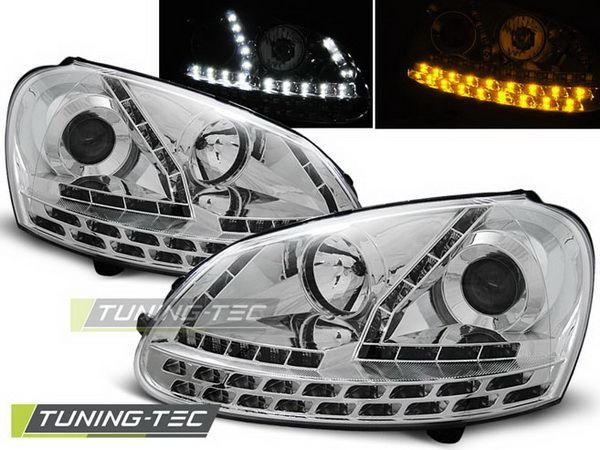 Фары VW Golf V DAYLIGHT CHROME LED-повороты