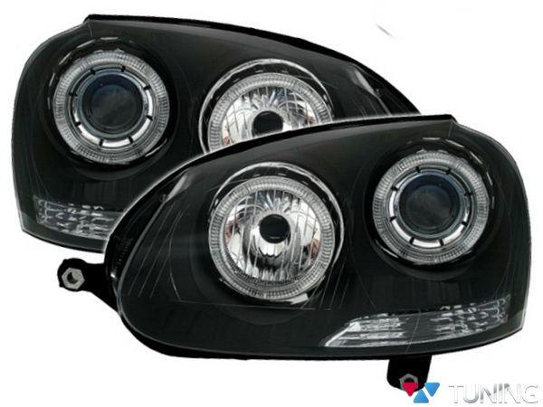 Оптика передняя VW Golf V 5 ANGEL EYES BLACK