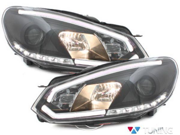 Фары VW Golf 6 (08-12) BLACK TUBE LIGHT DRL