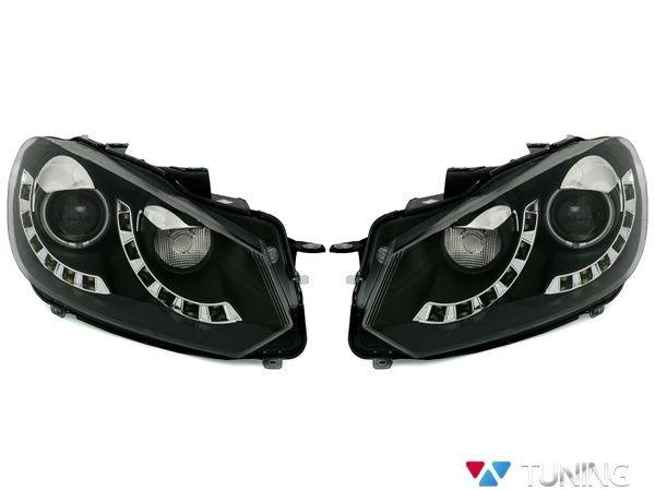 Фары VW Golf 6 (08-12) DAYLIGHT BLACK SINGLE DRL
