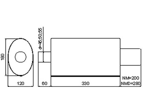 Глушитель универсальный NM-142-21 загиб овальной насадки