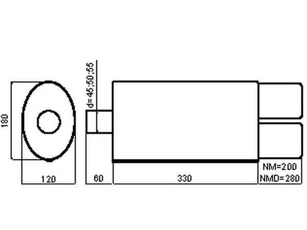 Глушитель универсальный двойная насадка (срез) NM-242-10-1 размеры
