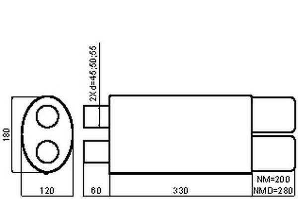 Глушитель универсальный двойной вход NM-253-70RS размеры