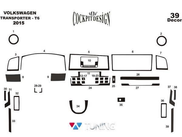 Накладки на торпедо VW Transporter T6 (2015-) - схема