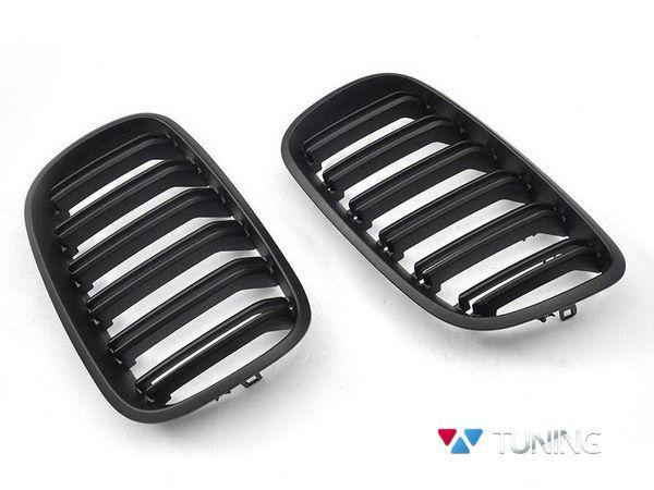 Решётка радиатора BMW X5 E70 (06-13) - М стиль чёрная матовая